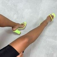 JINJOE Summer Fluorescent green Women Fashion High Heels Slippers Sexy Lady Fetish Transparent Slippers Sandals size 35 42