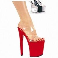 20cm High Heeled Shoes Sexy Cutout 8 Inch Heel High Platform Slip On Sexy Stripper Shoes