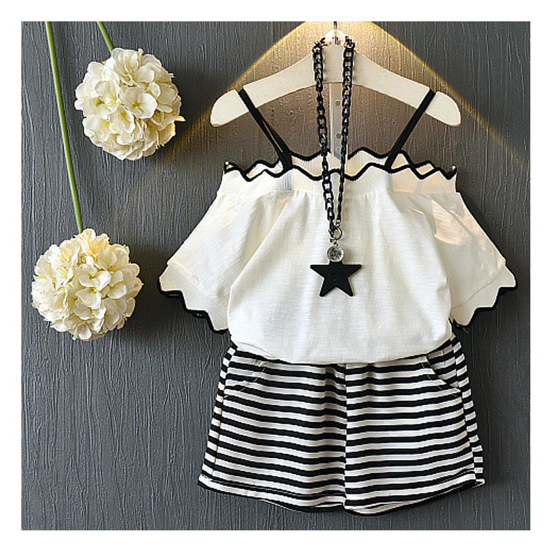 New Arrival Summer Girl Suit Children Clothing Girl Set Kids T-shirt with Black and white striped shorts Children Girl's Suit