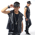 Men's Fashion sleeveless Rivet Jacket Vest  Male DJ Costume Club show stage performance outwear