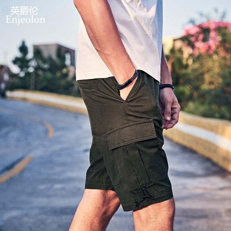 Enjeolon 2019 Summer Mens Shorts Casual Pocket Camo Knee length Mens Cargo Shorts Streetwear Plus Size KZ6352 in Casual Shorts from Men 39 s Clothing