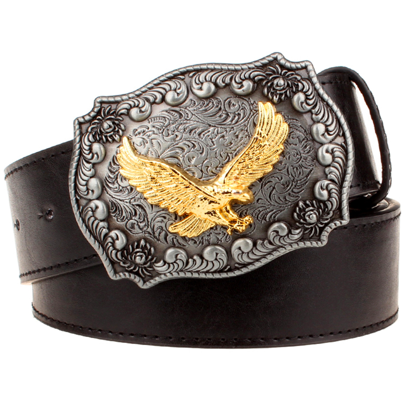 Men's Leather Belt Metal Buckle Retro Eagle Totem Pattern Western Style Belts Men Cowboy Bull Belt Women's Gift