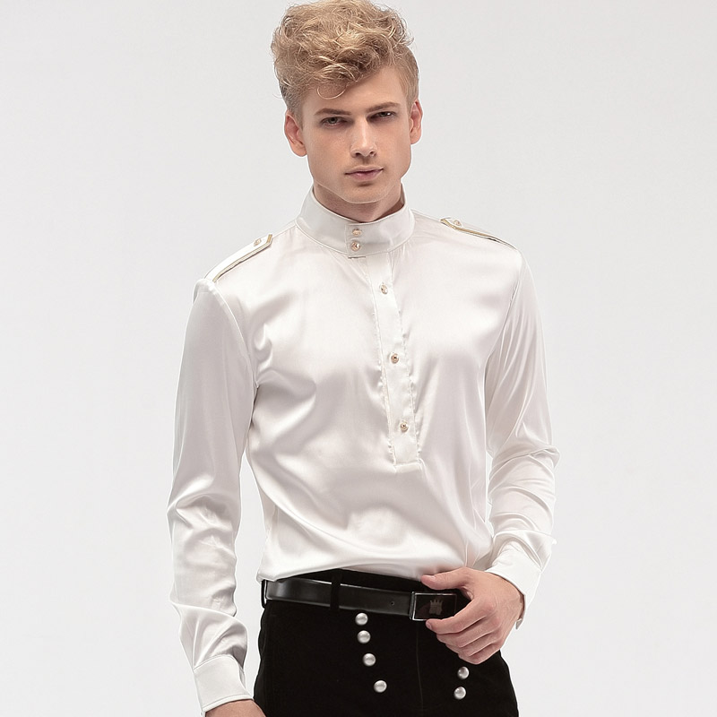 FANZHUAN Free Shipping New fashion personality male Men's Wedding White groom badges stand collar long sleeved loose shirt 14276