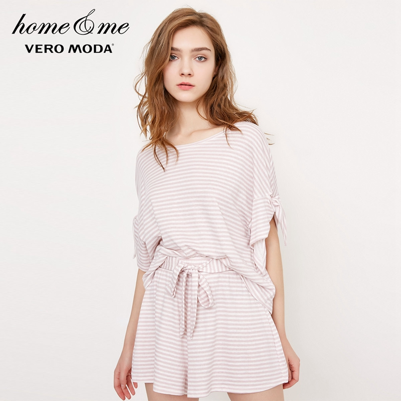 Vero moda 2019 nova mulher listrado o-pescoço manga curta sleepwear topo   318201597
