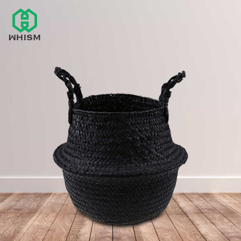 WHISM Folding Laundry Baskets Storage Toy Baskets Bathroom Dirty Colthing Basket Storage Organizer Wicker Picnic Seagrass Basket