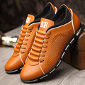 summer new leather men casual shoes hole hollow out  soft leather tide men autumn shoes