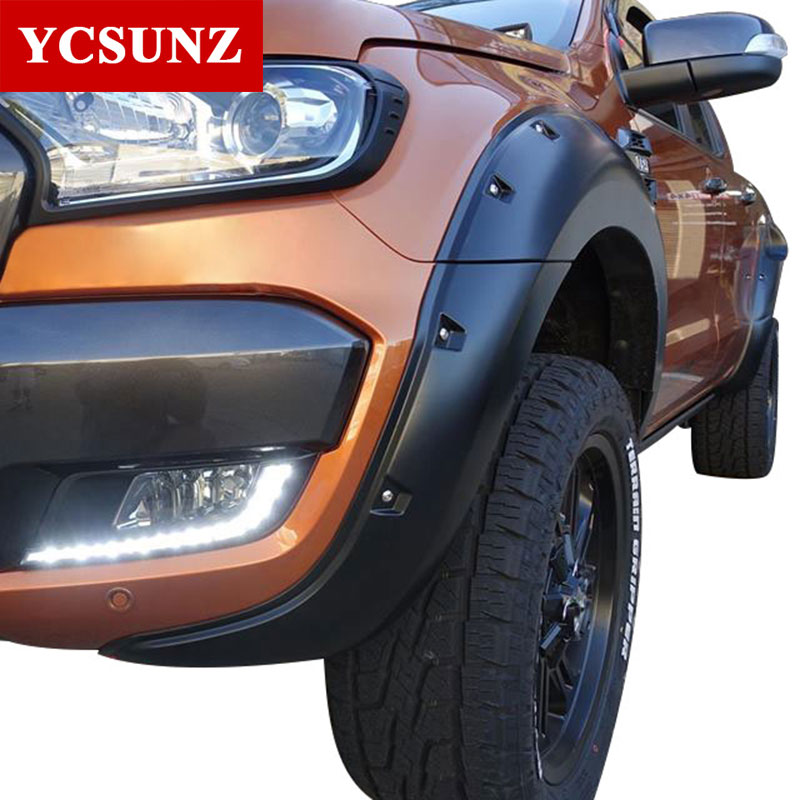 2016 2018 fender flare for ford ranger wildtrak accessories black color mudguards for ford. Black Bedroom Furniture Sets. Home Design Ideas