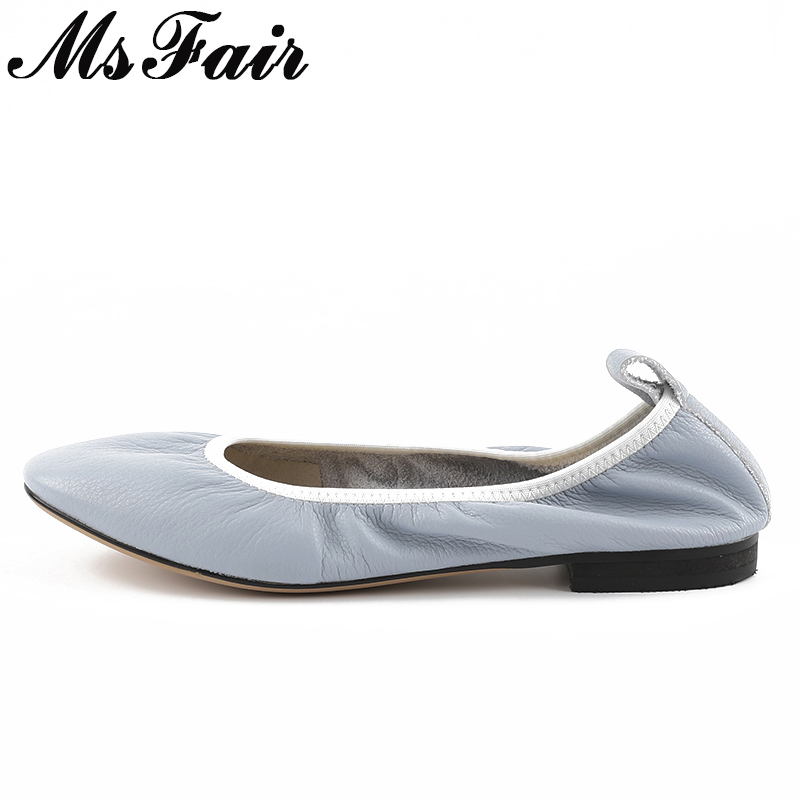 MsFair Natural Leather Women Ballet Flats Soft Bottom Elastic band Flats Slip on Shoes Fashion Female Women Driving Flat Shoes cresfimix zapatos women cute flat shoes lady spring and summer pu leather flats female casual soft comfortable slip on shoes