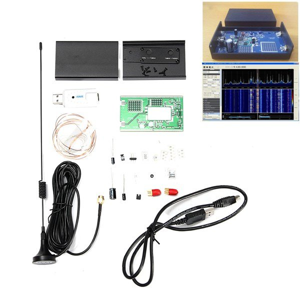 100KHz-1.7GHz Full-Band Software Radio HF FM AM RTL-SDR Receiver Radio Frequency Modulation Kit ham radio receiver software defined radio 100khz 1 7ghz full band uv hf rtl sdr usb tuner rtl2832u r820t2