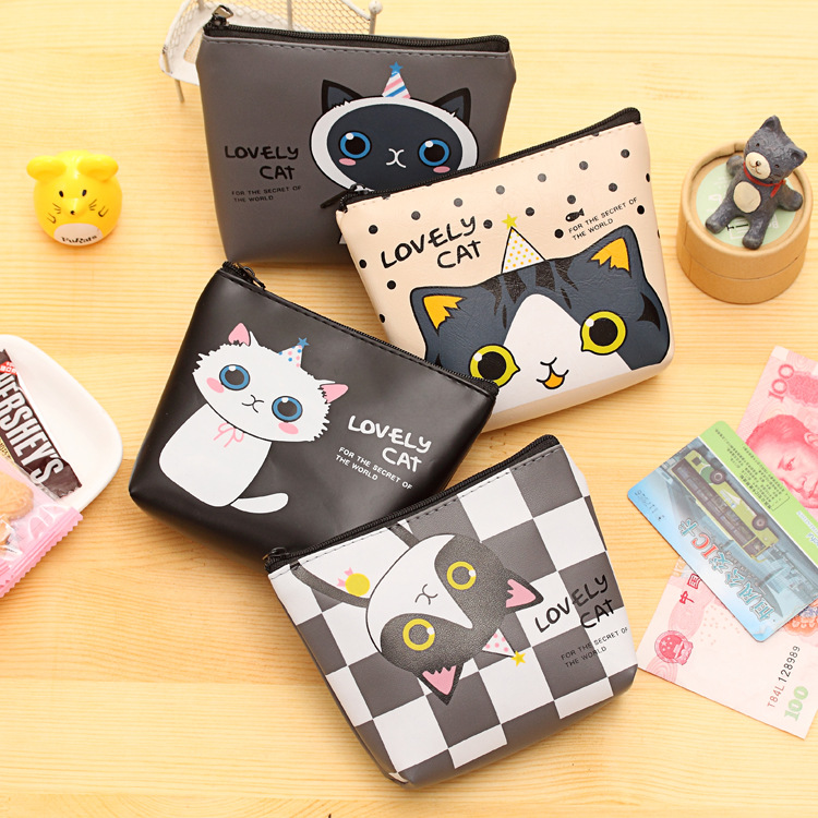 PU Coin Purse Cute Mini Key Wallet Credit Card Bags Cartoon Cat Print Zipper Coin Pocket For Kids Women Men Small Lovely Handbag 2017creative cute cartoon coin purse key chain for girls pu leather icecream cake popcorn kids zipper change wallet card holder