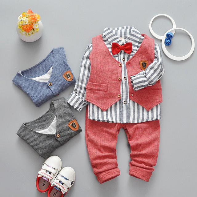2017 New Spring Boys Clothing Set Turn-down Collar Top+Vest +Pants Fashion 3pcs Toddler Boy Clothes Gentleman Cotton Set
