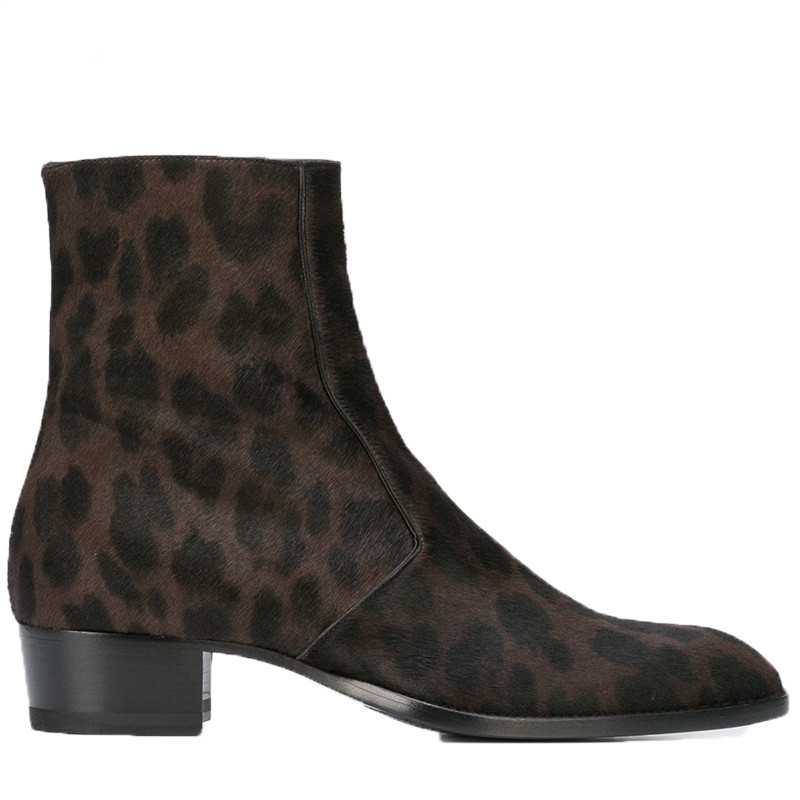 NEW Leopard Horse Fur wedge men handmade pointed toed Boot cowboy zipper high shoes
