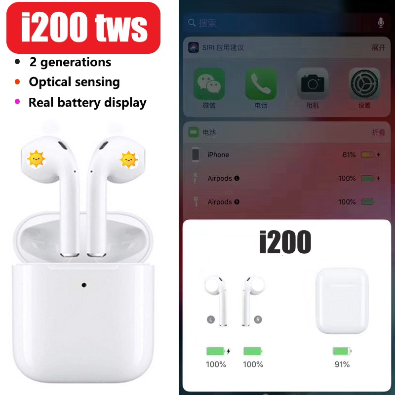 I200 TWS Pop up Air2 Original 1:1 recharge sans fil Bluetooth 5.0 écouteurs Hifi écouteurs PK W1 puce i20 i30 i60 i80 i100 TWS