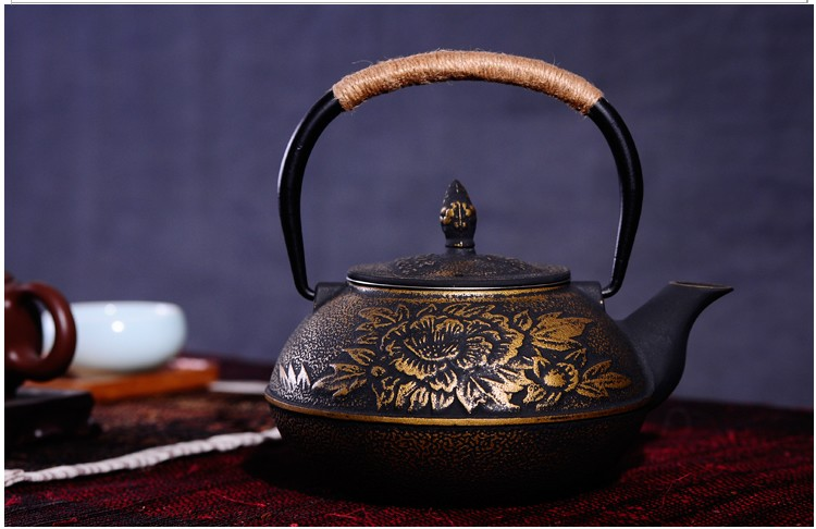 New 7 Chioces Cast Iron Teapot Set Japanese Tea Pot Tetsubin Kettle Enamel 900ml Kung Fu Infusers Metal Net Filter Cooking Tools 5