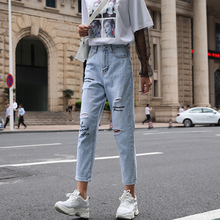 Loyalget Streetwear Ripped Europe and America womens jeans women hole  trousers casual lady denim pants blue jean