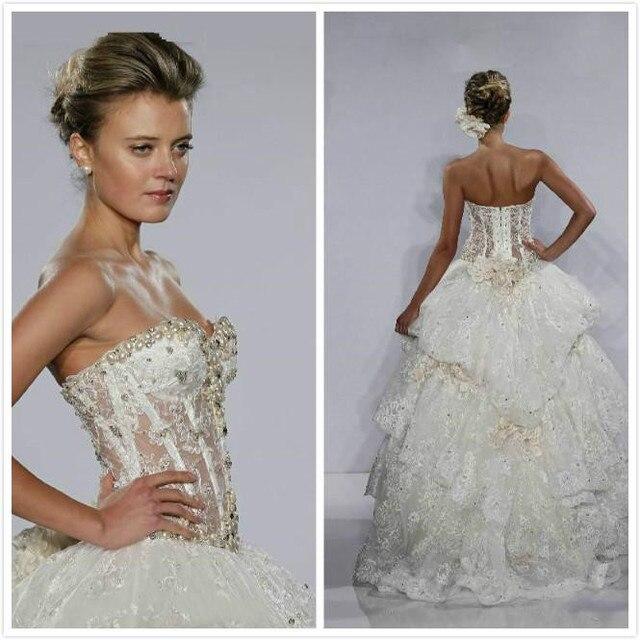 Fashion brautkleider Ballkleid Schatz Perlen Blumen Spitze Bones ...