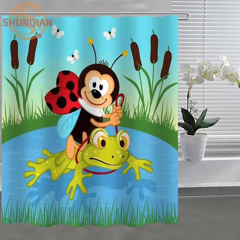 Frog Cartoon Shower Curtain Fabric Polyester Custom Shower Curtain With  Hooks H0328u002624u(China (Mainland