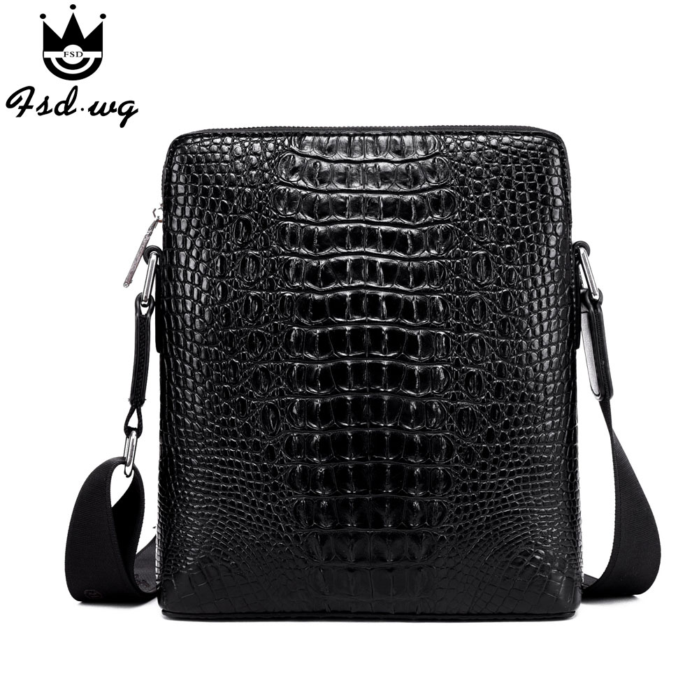 ФОТО new 3d Crocodile Grain shoulder bags bolsas famous brand designer mens business bag men's crossbody bag men Satchels bolsos