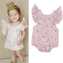 New Arrival Girls Sleeveless Rompers Newborn Kids Baby Girl Toddler Pink Swan Romper Jumpsuit  Clothes Outfit
