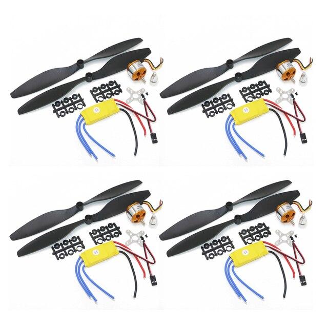 4 juegos/lote A2212 1000KV 2200KV A2208 Motor sin escobillas Outrunner + 30A ESC + juego de cuatro rotores de hélice 1045 para aviones RC de Multicopter