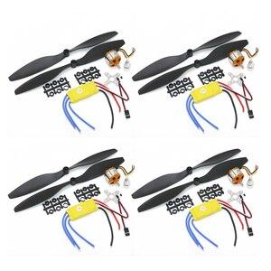 Image 1 - 4 zestaw/partia A2212 1000KV 2200KV A2208 bezszczotkowy silnik Outrunner + 30A ESC + 1045 śmigło Quad Rotor zestaw dla zdalnie sterowanego samolotu multicoptera