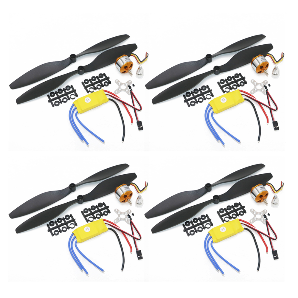 4set/lot A2212 1000KV 2200KV A2208 Brushless Outrunner Motor +30A ESC+1045 Propeller Quad-Rotor Set For RC Aircraft Multicopter