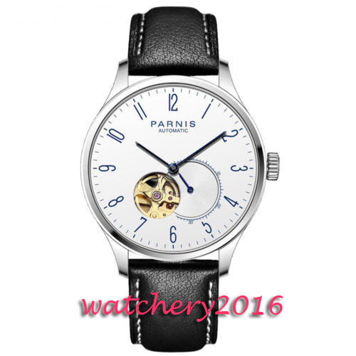 42mm Parnis White Dial Blue Dial Leather strap Stainless steel Case Luxury Brand Miyota Automatic Movement men's Watch romantic 42mm parnis black dial luxury brand ss case valentines date leather miyota automatic movement men s business watch