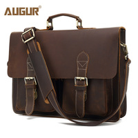 Augur мужская сумка через плечо кожаная винтажная сумка через плечо для мужчин и женщин обратно в школу Сумка для ноутбуков