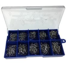 500 pièces #3 #12 argent noir or crochets de pêche deau douce carpe hameçons de pêche Kit de hameçons barbelés appât de pêche carpe
