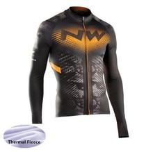 все цены на Winter Thermal Fleece Cycling Jersey Long Sleeves Warm Ropa Ciclismo Maillot MTB Bicycle Clothing Bike Clothes онлайн