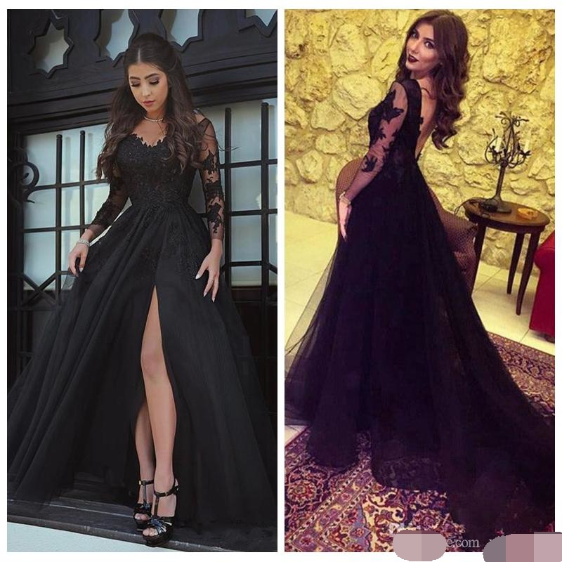 Sexy Backless Evening Dresses V Neck Long Sleeves Black Lace Appliques Side Split prom Formal evening dress 2019 robe de soiree