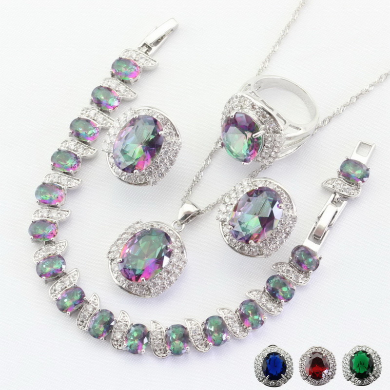 4 colors available Crystal Silver Color Jewelry Sets Necklace Pendant Earrings Ring Bracelet For Women Free Gift Box WPAITKYS a suit of gorgeous rhinestoned flower necklace bracelet earrings and ring for women