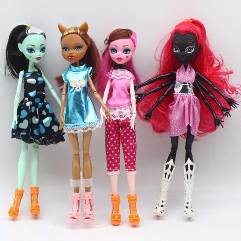 4 шт./компл. Новый стиль Монстр Fun Высокое Куклы Монстр Draculaura высокое передвижные совместных 30 см Best Детский подарок оптом модные куклы