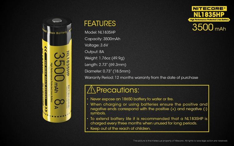 1 pcNitecore NL1835HP high performance 18650 3500 mAh 3.6 V 12.6Wh 8A protected Li-Ion top button battery