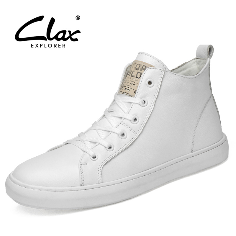 CLAX Men Fashion Shoes Genuine Leather Autumn Casual White Footwear High Sneakers Male winter shoe plush