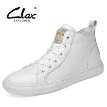 CLAX Men Fashion Shoes Genuine Leather Autumn Casual White Footwear High Sneakers Male winter shoe plush Fur warm Big Size
