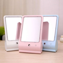 1pcs Compact Size Women Outdoor Working Travel Facial Makeup Mirror USB Charging LED Facial Moisture Mirror 3Colors To Choose