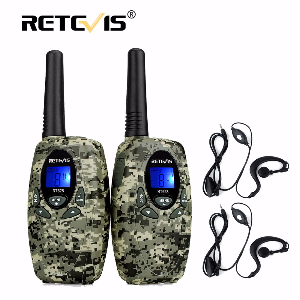 2 stücke 4 Farben Retevis RT628 Mini Walkie-Talkie + 2 stücke 1Pin Headset 0,5 watt 8/22CH PMR FRS/GMRS UHF Frequenz Tragbare 2 Way Radio Set