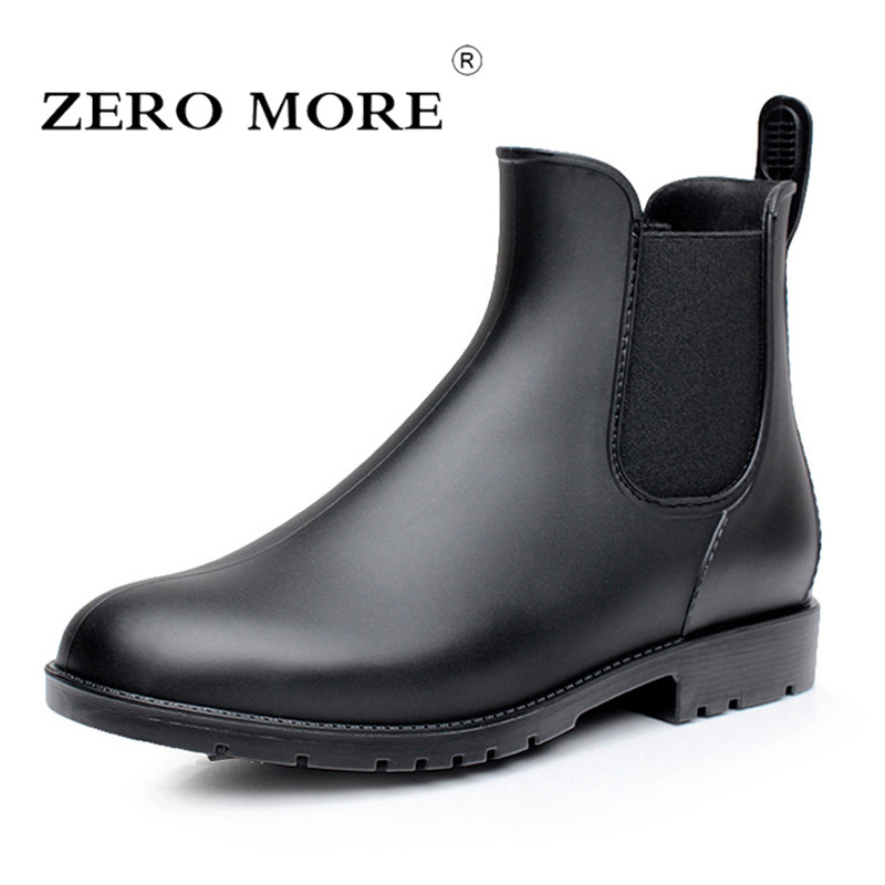 ZERO MORE Mens Rubber Rain Boots Fashion Chelsea Boots Men Casual Slip On Waterproof Ankle Boots PVC Shoes Pointed Toe Rainboots free shipping fashion madam featherweight rubber boots rainboots gumboots waterproof fishing rain boots motorcycle boots