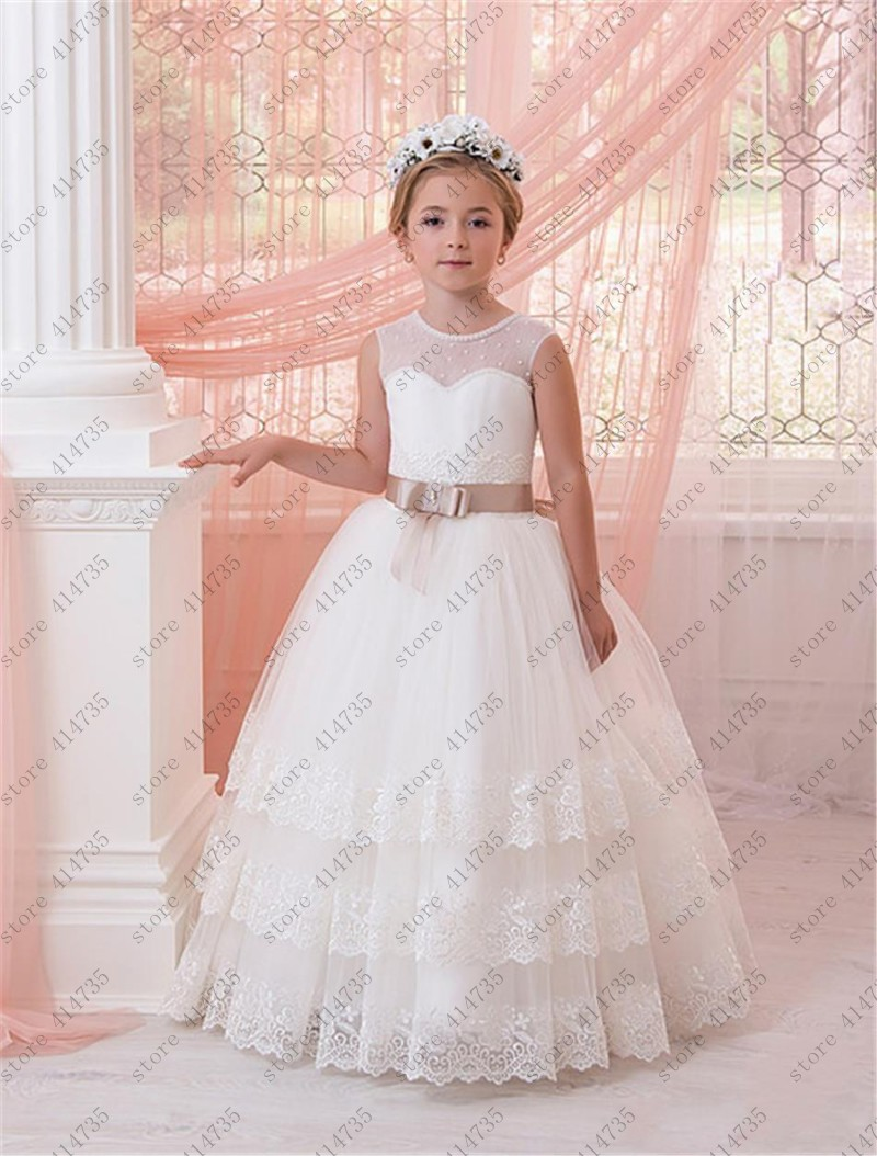 2019   flower     girl     dresses   for weddings lace vestido primera comunion 2-14 ball gowns for   girls