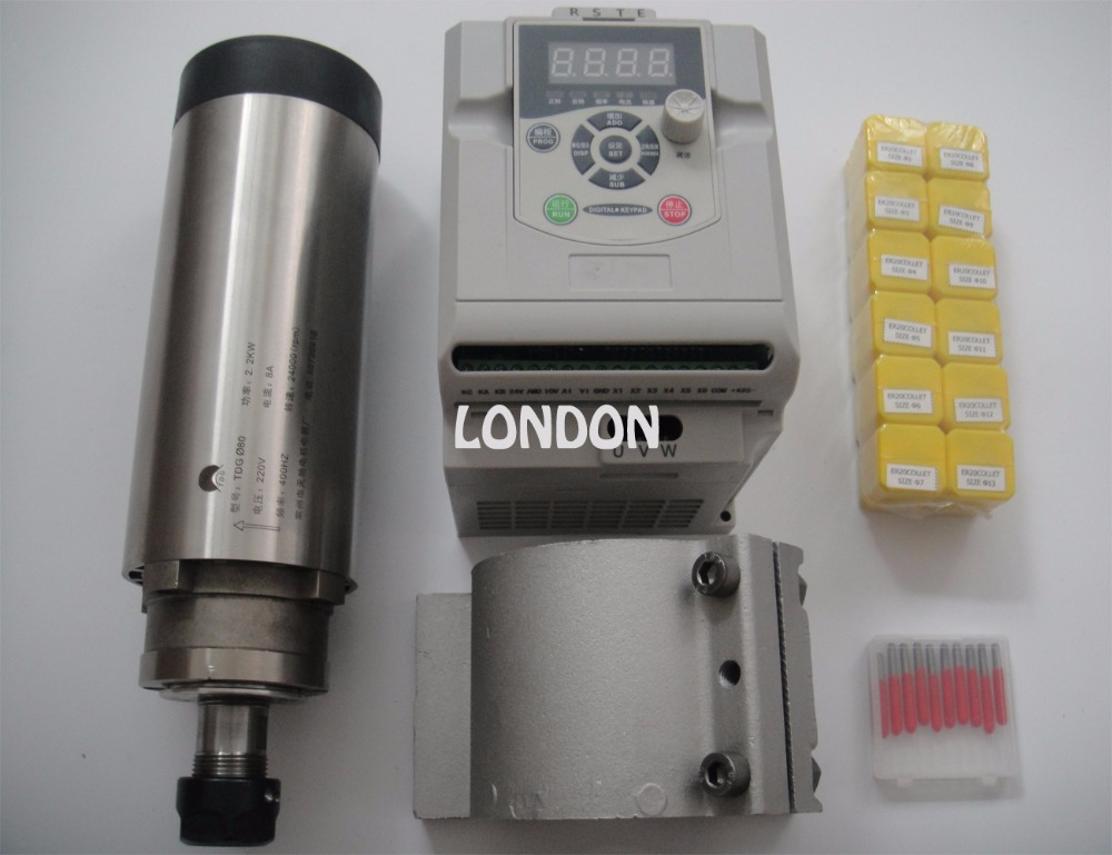 CNC spindle kit ER20 2.2KW air cooling spindle + 1 pieces 2.2KW VFD inverter+ ER20 collets+spindle support+CNC engraving bits cnc spindle kit er11 air cooling 1 5kw spindle cnc engraving bits