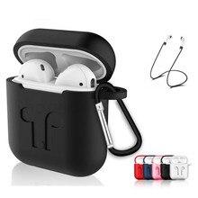 Capa de Silicone macio Para Airpods Para Ar Vagens Fone de Ouvido Capa Protetora À Prova de Choque À Prova D Água para iphone 7 8 Acessórios Fone de ouvido
