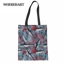 WHEREISART Foldable Shopping Bags Women Men Handbags Canvas Tote Bags Grocery Reusable Shopping Bag Kawaii Print Shoulder Bag