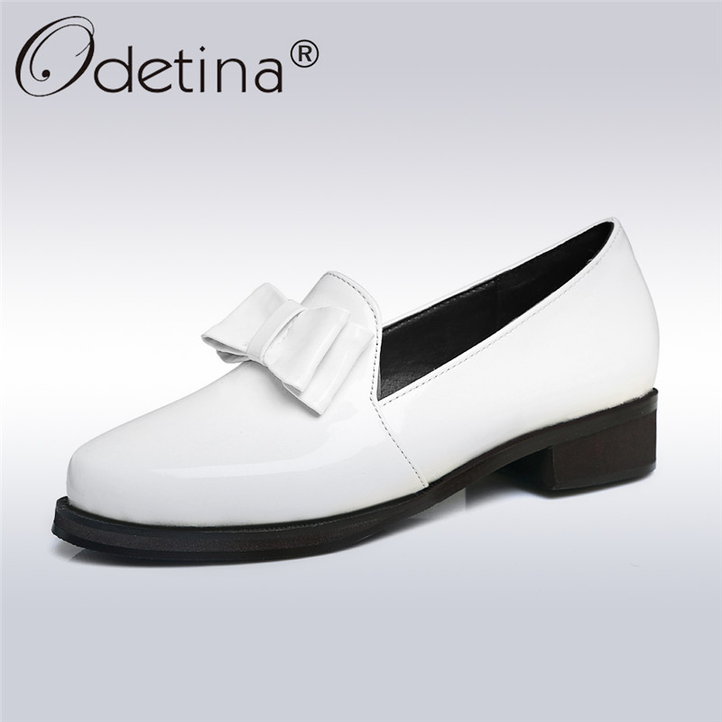Odetina 2017 Patent Leather Oxford Shoes for Women Heels Round Toe Casual Pumps Low Heel Bow Shoes Slip on Loafers Big Size 46 women s casual genuine leather shoes sheepskin block low heels pumps round adornment brown black low heels shoes for women