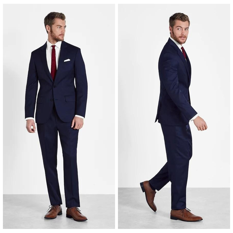Classy Dark Navy Custom Suits For Men Slim Fit Cheap Grooms Tuxedos Two Pieces Wedding Suits Business Formal Wear (Jacket+Pants)