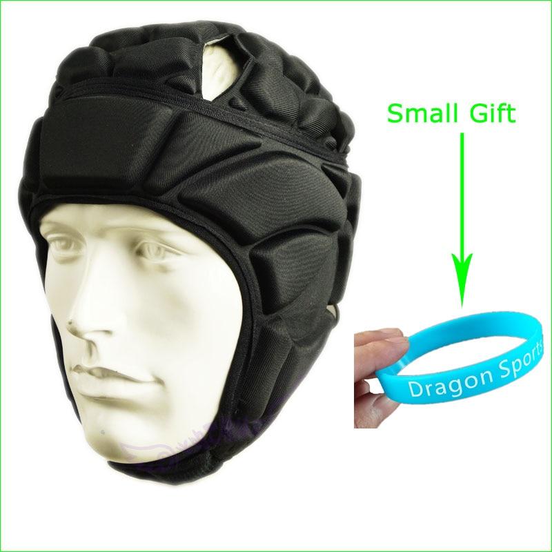 Prix pour Rugby Football de Football Casque de Sécurité Élastique EVA Head Protecteur Noir Vitesse Réglable Taille