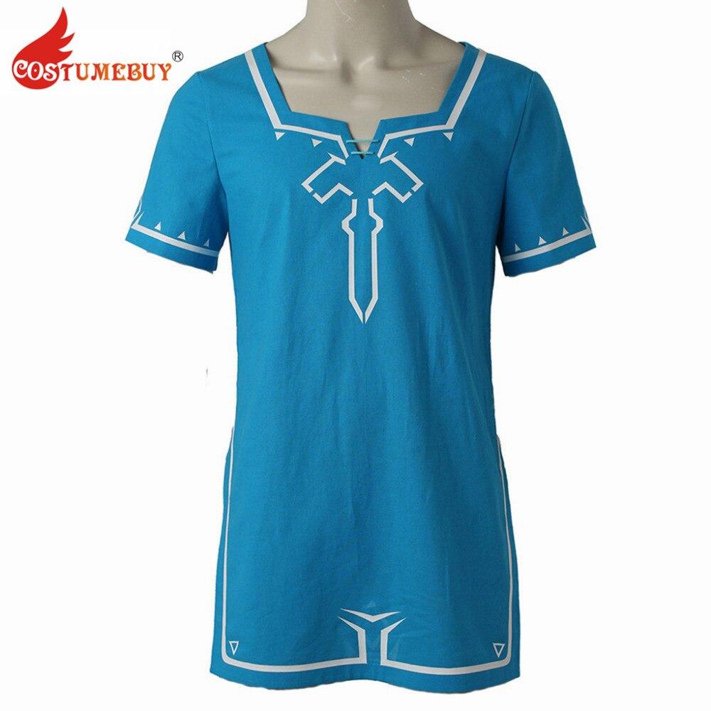 CostumeBuy The Legend Of Zelda Breath Of The Wild Link T Shirt Game Cosplay Costume T-Shirt Halloween Blue T-shirt Tee Unisex