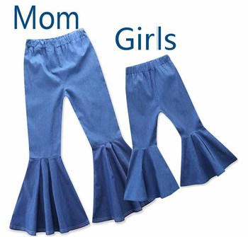 2 ~ 6Y filles Jeans été mince Long Denim Pantalon mode enfants volants Flare Pantalon Booot coupe Pantalon Jean Fille maman Fille