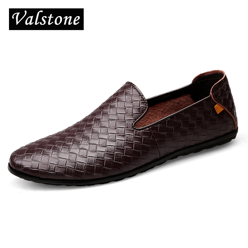 Valstone Men's Genuine casual Genuine cow Leather shoes Quality driving shoes slip-on woven england style flats plus sizes 37-45 branded men s penny loafes casual men s full grain leather emboss crocodile boat shoes slip on breathable moccasin driving shoes