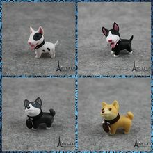 Free shipping 4pcs/lot Cute Dogs Mini PVC Figure pocket toy Akita Bull Terrier keychain bag hanger party favor supply kids gifts